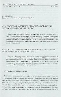 Analiza wydajności komunikacji w środowisku sieciowym na przykładzie RPC