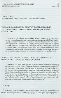 Wybrane zagadnienia budowy rozproszonego systemu komputerowego w przedsiębiorstwie górniczym