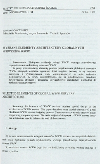 Wybrane elementy architektury globalnych serwerów WWW