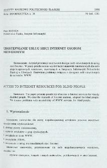 Udostępnianie usług sieci Internet osobom niewidomym