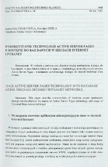 Wykorzystanie technologii Active Server Pages w dostępie do baz danych w sieciach Internet i Intranet