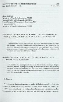 Markowowskie modele wielowarstwowych przełączników siecioiwych z blokowaniem