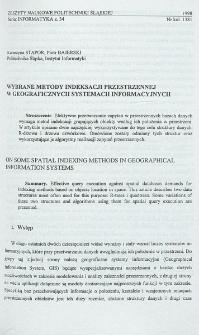 Wybrane metody indeksacji przestrzennej w geograficznych systemach informacyjnych
