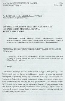 Mechanizmy ochrony sieci komputerowych na przykładzie oprogramowania Solstice Firewall-1