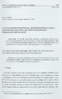 Łącze bezpzewodowe dla rozproszonego węzła hierarchicznej sieci polowej sterowanej rozkazami języka SCPI