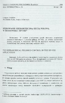 Sterowanie hierarchiczną siecią polową w środowisku HP-VEE