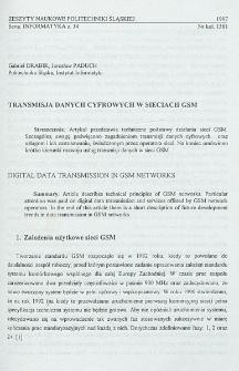 Transmisja danych cyfrowych w sieciach GSM