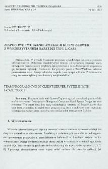 Zespołowe tworzenie aplikacji klient-serwer z wykorzystaniem narzędzi typu L-CASE