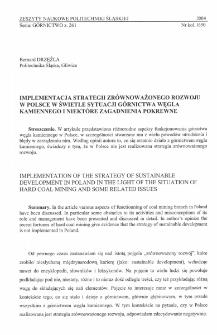 Implementacja strategii zrównoważonego rozwoju w Polsce w świetle sytuacji górnictwa węgla kamiennego i niektóre zagadnienia pokrewne