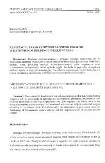 Realizacja zasad zrównoważonego rozwoju w Katowickim Holdingu Węglowym S.A.