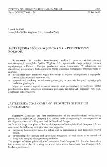 Jastrzębska Spółka Węglowa S.A. - perspektywy rozwoju