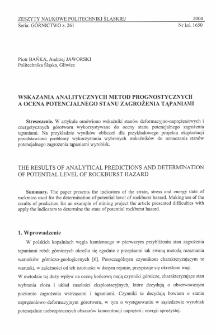 Wskazania analitycznych metod prognostycznych a ocena potencjalnego stanu zagrożenia tąpaniami