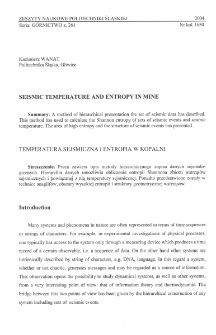 Seismic temperature and entropy in mine