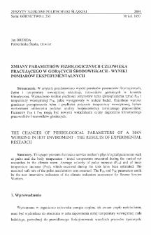 Zmiany parametrów fizjologicznych człowieka pracującego w gorących środowiskach - wyniki pomiarów eksperymentalnych