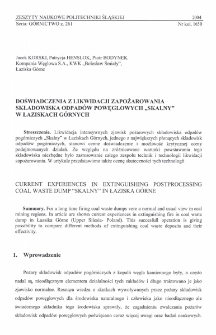 """Doświadczenia z likwidacji zapożarowania składowiska odpadów powęglowych """"Skalny"""" w Łaziskach Górnych"""