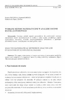 Wybrane metody matematyczne w analizie i ocenie ryzyka zawodowego