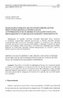 Możliwości poprawy skuteczności profilaktyki przeciwpożarowej za pomocą piany antypirogenicznej w zrobach zawałowych ściany, prowadzonej w warunkach zagrożeń skojarzonych