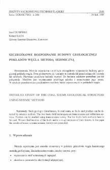 Szczegółowe rozpoznanie budowy geologicznej pokładów węgla metodą sejsmiczną