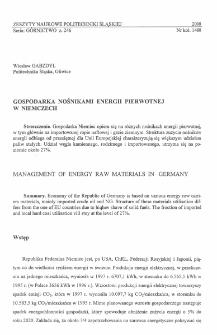 Gospodarka nośnikami energii pierwotnej w Niemczech