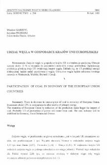 Udział węgla w gospodarce krajów Unii Europejskiej