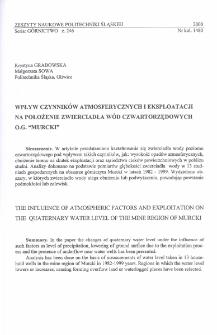 """Wpływ czynników atmosferycznych i eksploatacji na położenie zwierciadła wód czwartorzędowych O.G. """"Murcki"""""""