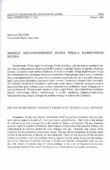 Modele metanonośności złoża węgla kamiennego Silesia