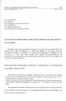 Geological problems of the development of the Donets Coal Basin