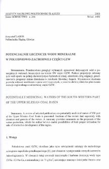 Potencjalnie lecznicze wody mineralne w południowo-zachodniej części GZW