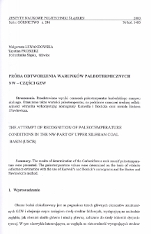 Próba odtworzenia warunków paleotermicznych NW - części GZW