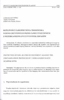 Możliwości zabezpieczenia środowiska wodno-gruntowego przed zanieczyszczeniem z niezorganizowanych wysypisk odpadów