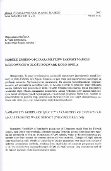Modele zmienności parametrów jakości margli kredowych w złożu Folwark koło Opola