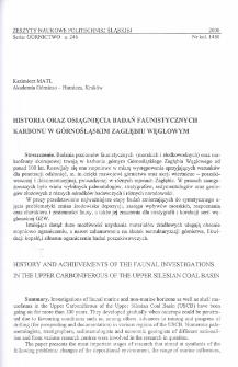Historia oraz osiągnięcia badań faunistycznych karbonu w Górnośląskim Zagłębiu Węglowym