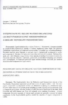 Wstępne dane nt. składu materii organicznej cechsztyńskiego łupku miedzionośnego z obszaru monokliny przedsudeckiej