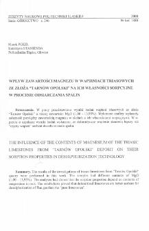 """Wpływ zawartości magnezu w wapieniach triasowych ze złoża """"Tarnów Opolski"""" na ich własności sorpcyjne w procesie odsiarczania spalin"""