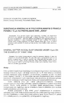 """Substancja mineralna w pyle kopalnianym o frakcji poniżej 10 [mikro]m na przykładzie KWK """"Anna"""""""