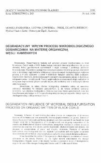 Degradacyjny wpływ procesu mikrobiologicznego odsiarczania na materię organiczną węgli kamiennych
