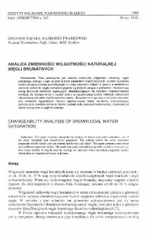 Analiza zmienności wilgotności naturalnej węgli brunatnych