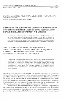 Change of the substantial composition and quality of coals along the stages of coal accumulation during the carboniferous in the Ukraine