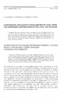 Composition and quality peculiarities of coal from the northern continuation of the Lvov-Volyn Basin