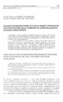 Badanie związków korelacyjnych między wybranymi właściwościami węgli kamiennych Górnośląskiego Zagłębia Węglowego