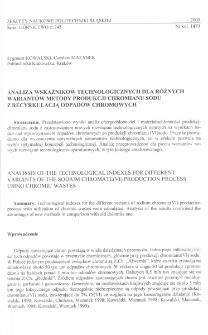 Analiza wskaźników technologicznych dla różnych wariantów metody produkcji chromianu sodu z recyrkulacją odpadów chromowych