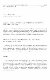 Badania symulacyjne układów technologicznych przeróbki kopalin