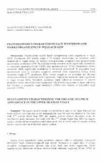 Prawidłowości charakteryzujące występowanie siarki organicznej w węglach GZW