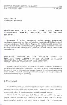 Budżetowanie, controlling. Praktyczny aspekt zarządzania spółką węglową na przykładzie RŚL.SW S.A.