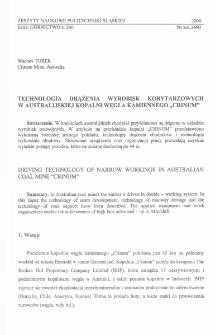 """Technologia wdrążenia wyrobisk korytarzowych w australijskiej kopalni węgla kamiennego """"CRINUM"""""""