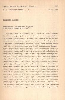 Matematyka na Politechnice Śląskiej w 25 latach istnienia uczelni