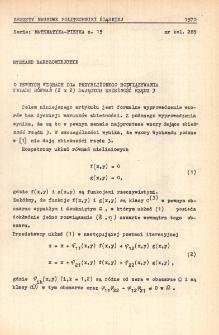 O pewnych wzorach dla przybliżonego rozwiązywania układu równań (2 x 2) dających zbieżność rzędu 3