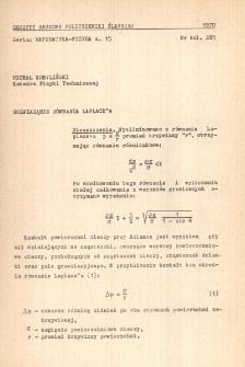 Rozwiązanie równania Laplace'a