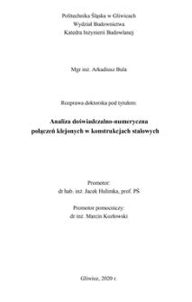 Analiza doświadczalno-numeryczna połączeń klejonych w konstrukcjach stalowych
