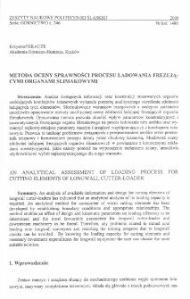 Metoda oceny sprawności procesu ładowania frezującymi organami ślimakowymi